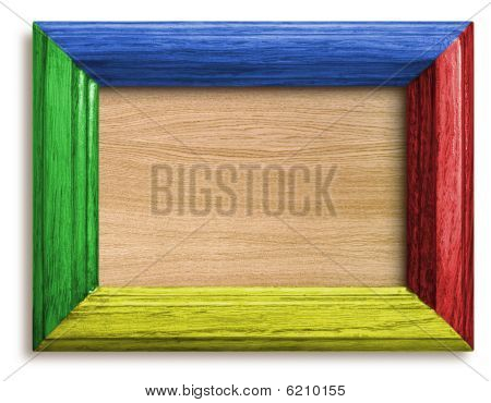 Frame With Color Wooden Background
