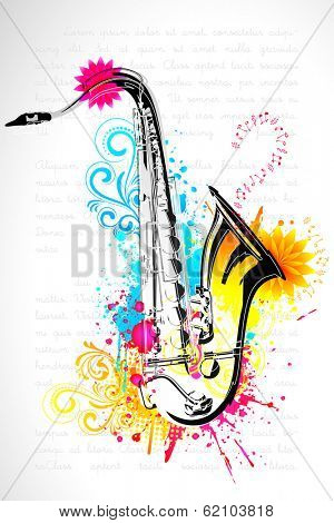 illustration of saxophone on abstract floral background