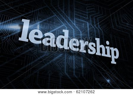 The word leadership against futuristic black and blue background poster