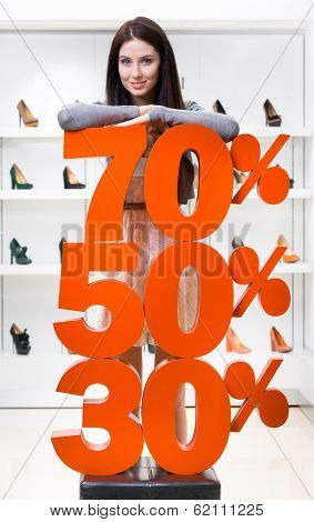 Woman showing the percentage of sales on high heeled shoes in the shopping center against the window case with footwear
