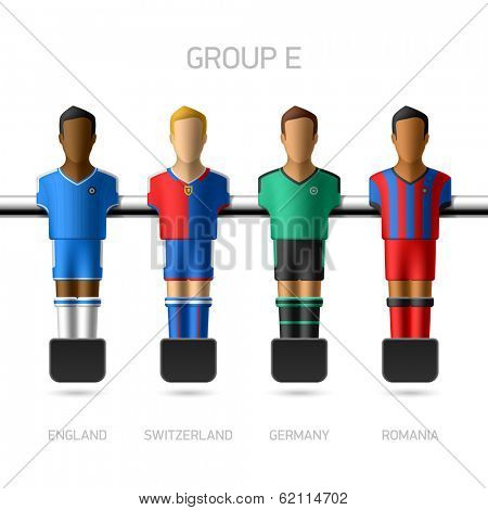 Table football, foosball players. Group E - England, Switzerland, Germany, Romania. Vector