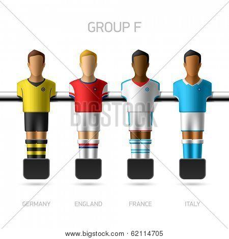 Table football, foosball players. Group F - Germany, England, France, Italy. Vector.