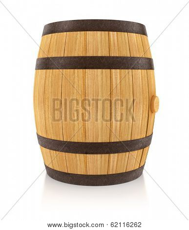 Wooden oaken barrel for beverages storing. 3d rendered illustration. Isolated on white background. Clipping path included