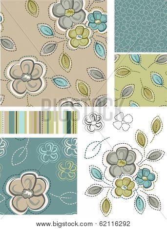Spring Inspired Seamless Floral Patterns and Icons. Use as fills, digital paper, or print off onto fabric to create unique items.