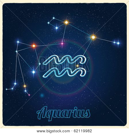 Vector constellation Aquarius with Zodiac sign