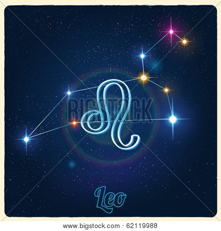 Vector installation Leo with Zodiac sign