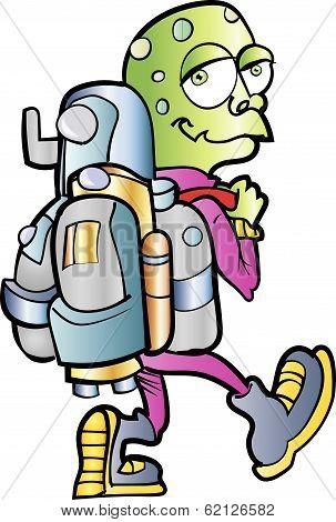 Cartoon alien jetpack user.