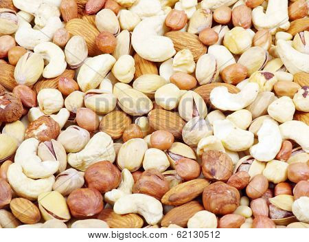Nuts mixed for backgrounds or textures