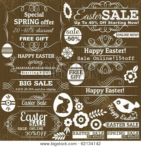 Set Of Easter Sale Offer Labels And Banners, Vector