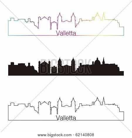Valletta Skyline Linear Style With Rainbow