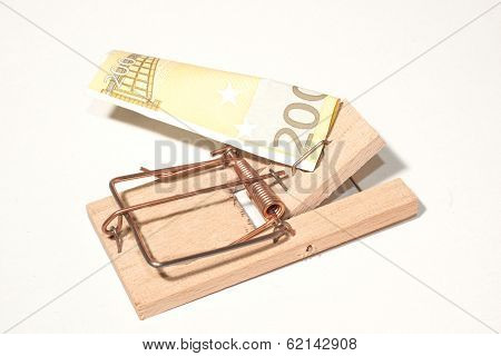 Mousetrap With 200-euro-note