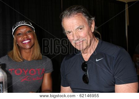 LOS ANGELES - MAR 15:  Carmelita Jeter, Eric Braeden at the Toyota Grand Prix of Long Beach Pro-Celebrity Race Training at Willow Springs International Speedway on March 15, 2014 in Rosamond, CA