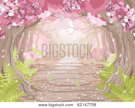 Magic spring forest landscape