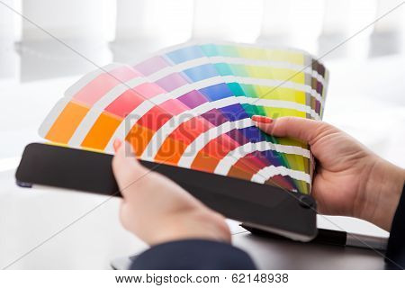 Graphic Designer Working With Pantone Palette