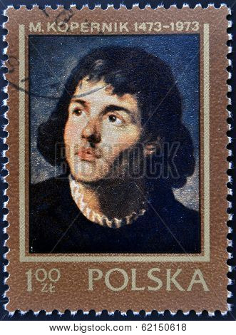 stamp shows Nicolaus Copernicus Polish and Prussian astronomer mathematician economist