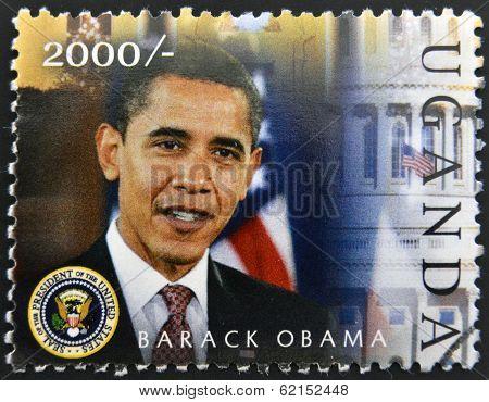 A stamp printed in Uganda shows Barack Hussein Obama