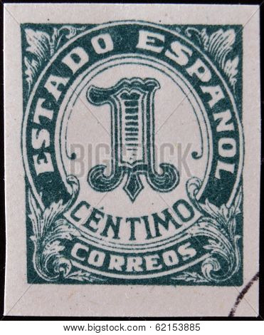 A stamp printed in Spain shows one cent peseta