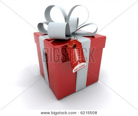 Gift Box With Ribbon And Tag