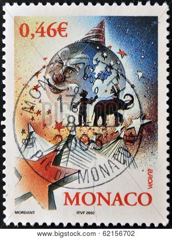A stamp printed in Monaco dedicated to the circus