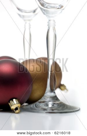 Christmas ornament with wine glasses on white