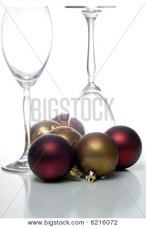 Christmas ornament with 2 champagne glasses on white