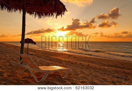 Beach at sunset, Varadero, Cuba poster