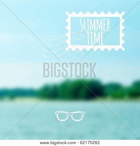 Unfocused summer lake vector background