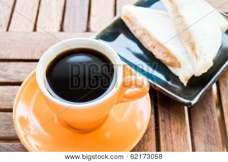Breakfast With Hot Coffee And Sandwiches