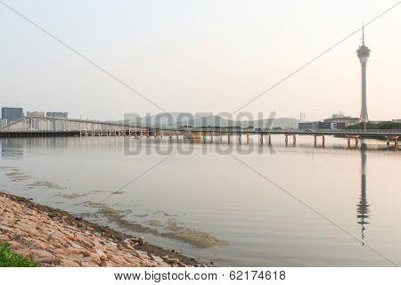 Macao Tower And Bridge To Taipa At Sunset
