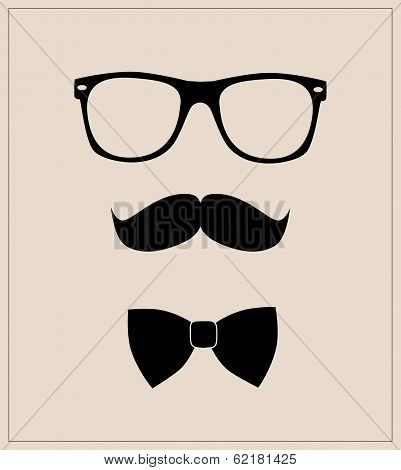 Hipster style set bowtie, glasses and mustaches. vector abstract illustration background