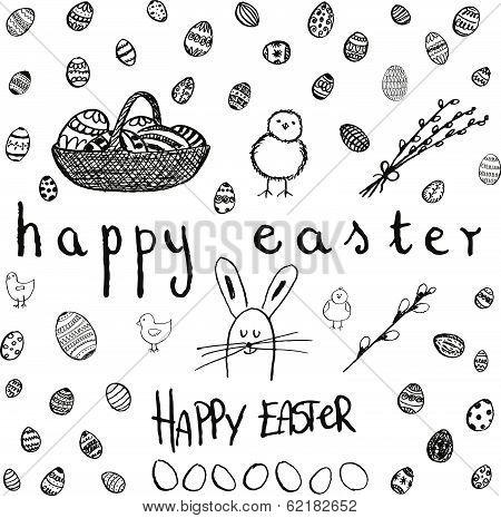 Doodle Vector Easter Set. Bw
