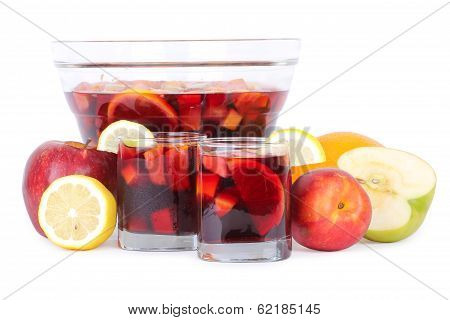 Sangria In Glass Bowl