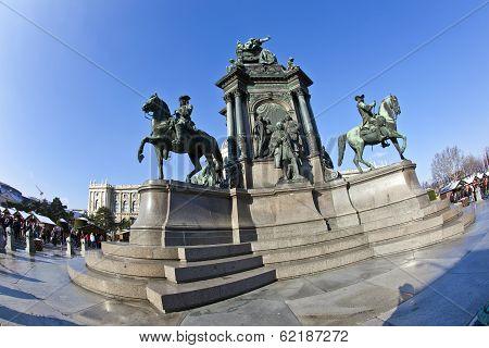 VIENNA, AUSTRIA - DEC 22, 2014: Maria Theresia Monument in Vienna Austria on a sunny day