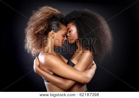 Beautiful Stunning Portrait of Two African American Black Women With Big Hair