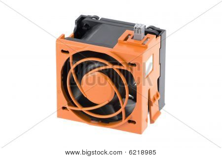 Fan With Orange Protection Cage
