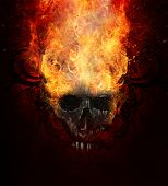Burning skull. Sketch of tattoo art, fire with tribal flourishes poster