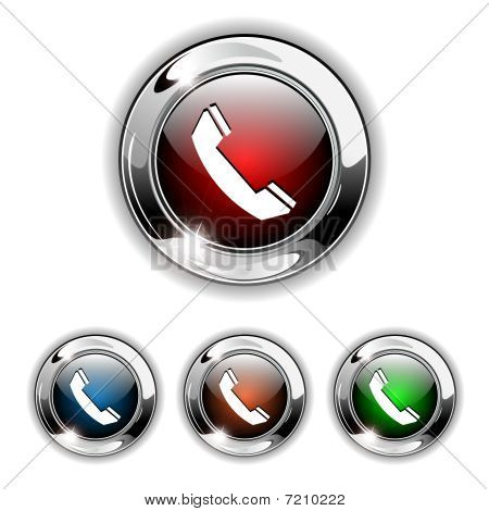 Phone icon, button, vector illustration.