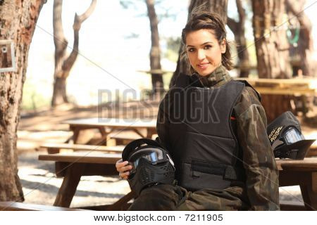 Young Woman Getting Ready For Paintball