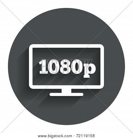 Full hd widescreen tv sign icon. 1080p symbol. Circle flat button with shadow. Modern UI website navigation. Vector poster