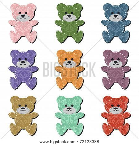 nice scrapbook teddy bears on white background vector poster