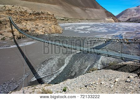 Rope Hanging Suspension Bridge Above Kali Gandaki