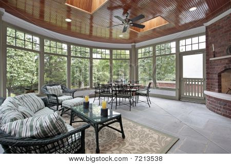 Bluestone Porch With Brick Fireplace