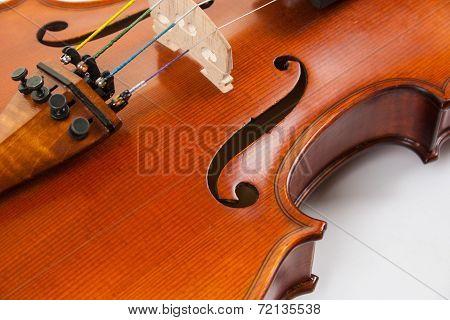 A close-up of a fine violin