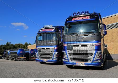 Fleet Of Volvo Fh 500 Tank Trucks On A Yard