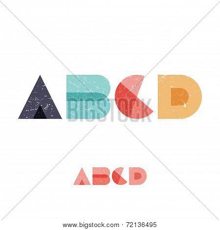 A B C D - Grunge Flat Alphabet Set