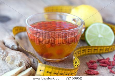 Cup of delicious dietary Goji berries tea