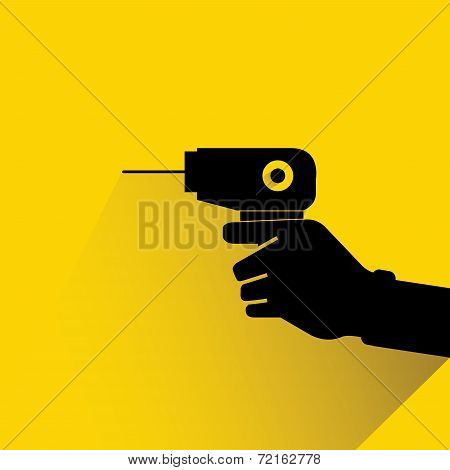 hand holding drill on yellow background, flat and shadow design poster