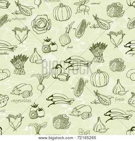 Kitchen seamless pattern with a variety of vegetables. Vector illustration