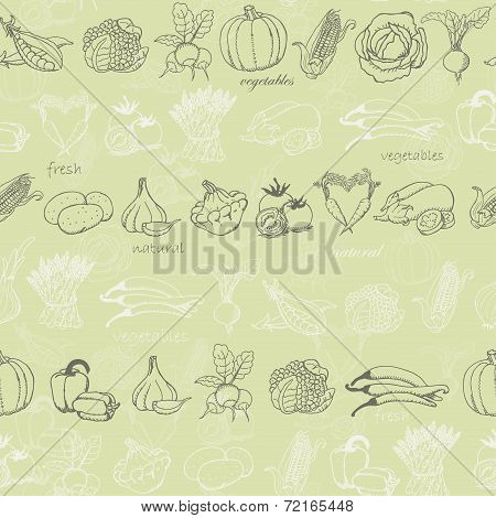 Kitchen seamless pattern with vegetables on light green background. Vector illustration