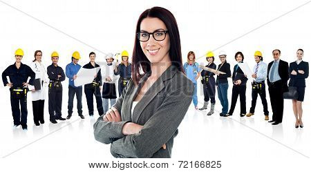 Confident Woman Leading A Business Team